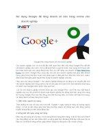 Sử dụng google + để tăng doanh số bán hàng online cho doanh nghiệp