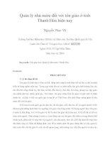 Quản lý nhà nước đối với tôn giáo ở tỉnh Thanh Hóa hiện nay