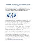 Những điều kiện để thành công trong quản lý nhân sự