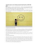 10 thói quen của những người hạnh phúc nhất thế giới