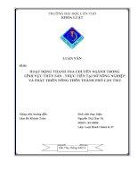 Hoạt động thanh tra chuyên ngành trong lĩnh vực thủy sản thực tiễn sở NN và PTNT cần thơ