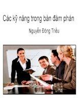 Bài giảng các kỹ năng trong bàn đàm phán   nguyễn đông triều