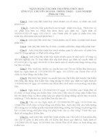 NGÂN HÀNG CÂU HỎI THI CÔNG CHỨC 2013 LĨNH VỰC CHUYÊN NGÀNH: TRỒNG TRỌT – LÂM NGHIỆP