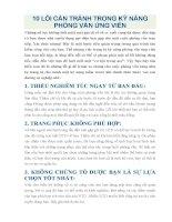 10 lỗi cần TRÁNH TRONG kỹ NĂNG PHỎNG vấn ỨNG VIÊN