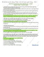 Bộ đề thi tuyển dụng nhân viên kế toán ngân hàng đề 1