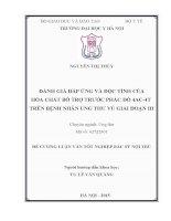 ĐÁNH GIÁ đáp ỨNG và độc TÍNH của hóa CHẤT bổ TRỢ TRƯỚC PHÁC đồ 4AC 4t TRÊN BỆNH NHÂN UNG THƯ vú GIAI đoạn III