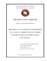 (1)THE IMPACT OF FOREIGN OWNERSHIP ON CAPITAL STRUCTURE OF FIRMS LISTED ON HO CHI MINH STOCK EXCHANGE