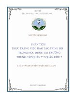 Phân tích thực trạng việc đào tạo trình độ trung học dược tại trường trung cấp quân y2 quân khu 7