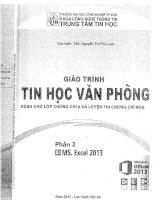 GIÁO TRÌNH TIN học văn PHÒNG tập 2 EXCEL 2013