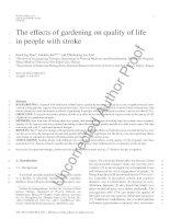 The effects of gardening on quality of lif