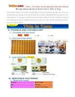 Bài tập tiếng anh lớp 3 (mới) unit 3: This is Tony