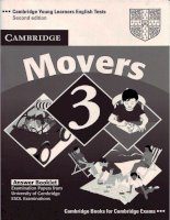 Cambridge English Movers 3 Answers Booklet