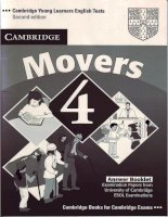 Cambridge English Movers 4 Answers Booklet