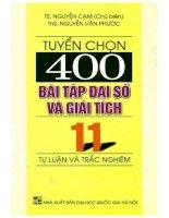 Tuyển chọn 400 bài tập đại số và giải tích 11 nguyễn cam