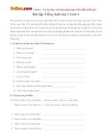 Bài tập Tiếng Anh lớp 4 Unit 4