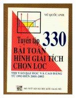Tuyển tập 330 bài toán hình giải tích chọn lọc vũ quốc anh