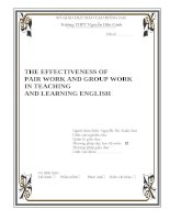 SKKN the effectiveness of pair work and group work in teaching and learning english