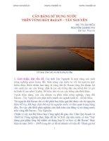 CÂN BẰNG SỬ DỤNG NƯỚC TRÊN VÙNG ĐẤT BAZAN – TÂY NGUYÊN