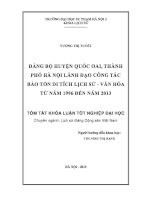 Đảng bộ huyện quốc oai, thành phố hà nội lãnh đạo công tác bảo tồn di tích lịch sử   văn hóa từ năm 1996 đến năm 2013