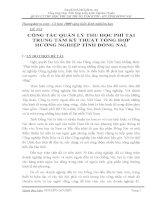 SKKN CÔNG tác QUẢN lý THU học PHÍ tại TRUNG tâm kỹ THUẬT TỔNG hợp  HƯỚNG NGHIỆP TỈNH ĐỒNG NAI