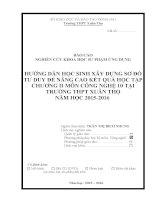 skkn HƯỚNG dẫn học SINH xây DỰNG sơ đồ tư DUY để NÂNG CAO kết QUẢ học tập CHƯƠNG II môn CÔNG NGHỆ 10