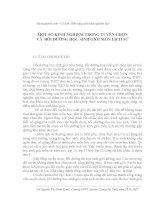 SKKN một số KINH NGHIỆM TRONG TUYỂN CHỌN và  bồi DƯỠNG học SINH GIỎI môn LỊCH sử