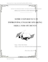 skkn tiếng anh thpt  SOME EXPERIENCE IN IMPROVING ENGLISH SPEAKING SKILL FOR STUDENTS