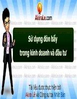 AkiraLe com sử dụng đòn bẩy trong kinh doanh và đầu tư