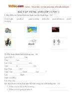 Bài tập Tiếng Anh lớp 3 Unit 1