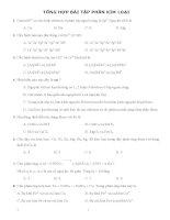 Tổng hợp bài tập trắc nghiệm phần kim loại môn hóa học 12