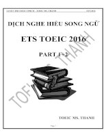 dịch nghe hiểu song ngữ ets toeic 2016 part 1 + 2
