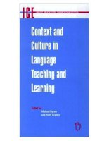 CONTEXT AND CULTURE IN LANGUAGE TEACHING AND LEANRING