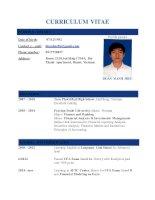 CV mẫu viết bằng tiếng anh của một số chuyên ngành kinh tế, kế toán, công nghệ thông tin