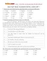 Tổng hợp bài tập trắc nghiệm Tiếng Anh lớp 7 Số 1