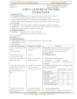 Giáo án Tiếng Anh 8 thí điểm Unit 1 (tiết 4-10)