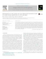 Development of a new steady state zerodimensional simulation model for woody biomass gasification in a full scale plant