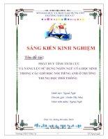 skkn phát huy tính tích cực và năng lực sử dụng ngôn ngữ của học sinh trong các giờ học noi tiếng anh ở trường trung học phổ thông