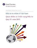 Đầu tư tư nhân ở Việt Nam Quan điểm và Triển vọng Đầu tư Quý IV năm 2013