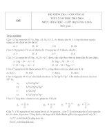 Đề kiểm tra 1 tiết hóa 10 chương 1 đề 2