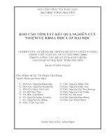 (Báo cáo NCKH) NGHIÊN CỨU ÁP DỤNG HỆ THỐNG QUẢN LÝ CHẤT LƯỢNG THEO TIÊU CHUẨN TCVN ISO 9001:2008 TRONG CÔNG TÁC QUẢN LÝ HÀNH CHÍNH TẠI CƠ QUAN ĐẠI HỌC THÁI NGUYÊN