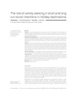 The role of variety seeking in short and long run revisit intentions in holiday destinations