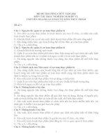 20 đề THI CÔNG CHỨC môn THI TRẮC NGHIỆM NGÀNH AN TOÀN vệ SINH THỰC PHẨM năm 2016