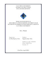 Time management in self regulated learning of first year student majored in english education in can tho university