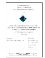 Errors in translating english relative clauses into vietnamese by third year english majors at can tho university