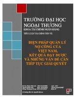 Biện pháp quản lý nợ công của Việt Nam, thành tựu và những vấn đề còn tồn tại