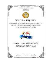 ĐÁNH GIÁ MỨC ĐỘ Ô NHIỄM CHẤT HỮU CƠ TRONG CÁC KÊNH, HỒ ĐIỀU TIẾT NƯỚC CỦA THÀNH PHỐ ĐÀ NẴN