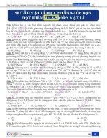 50 câu trắc nghiệm vật lí hạt nhân có đáp án giúp bạn đạt 8 _ 8,5 điểm