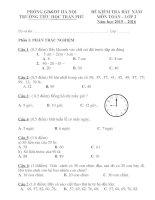Đề thi khảo sát chất lượng đầu vào lớp 2 môn Toán (có Đáp án)