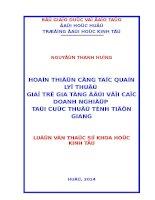 Hoàn thiện công tác quản lý thuế Giá trị gia tăng đối với Doanh nghiệp tại Cục thuế tỉnh Tiền Giang