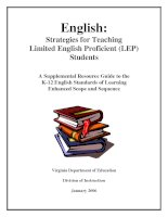 Strategies for Teaching  Limited English Proficient (LEP)  Students